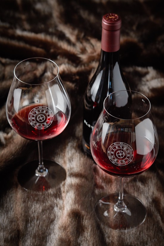 Riedel Burgundy Etched Glass Set
